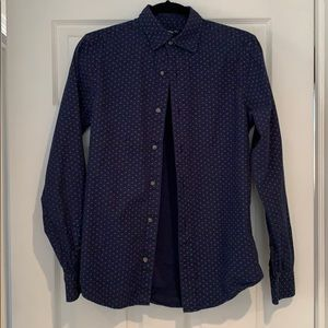 Blue checked button down